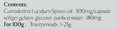 Ingredients list of Ganoderma Lucidum (lingzhi) spores oil with triterpenoids