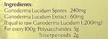 Ingredients list of Ganoderma Lucidum (lingzhi) spores powder with polysaccharides and triterpenoids